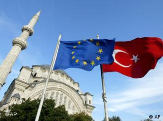 eu and turkish flags in front of a mosque