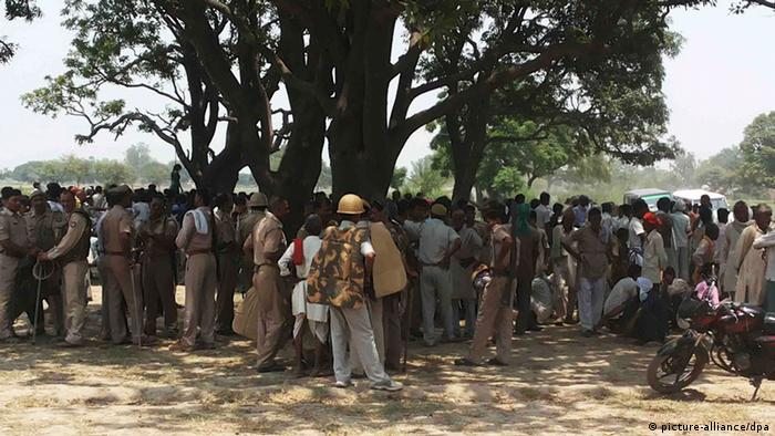 Group protest in Uttar Pradesh's Budaun district in northern India