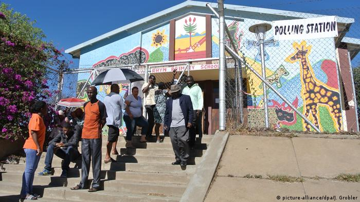 Voters in Nambia leaving a polling station