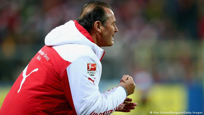 VfB Stuttgart Trainer Huub Stevens (Photo by Alex Grimm/Bongarts/Getty Images)