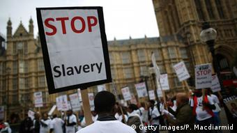 Protest gegen Sklaverei in Großbritannien Oktober 2013