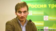 Auf dem Bild: Pawel Kanygin. Politiker der Russische Liberalen äußern sich zu den Tschetschenien-Kriegen. Foto: Julia Vischnevetz / DW am 28.11.2014