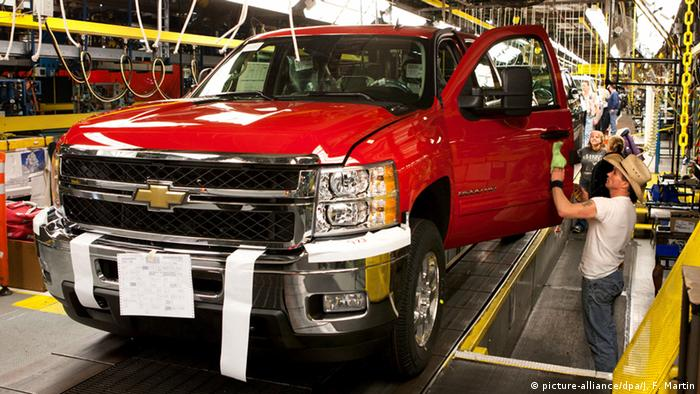 Chevrolet truck being built in factory
