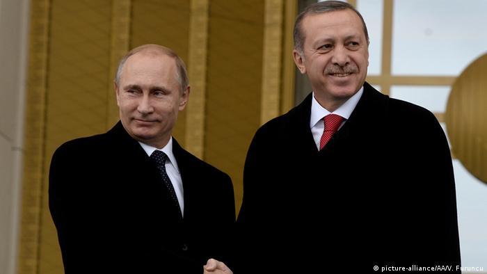 Лидеры России и Турции Владимир путин и Реджеп Тайип Эрдоган