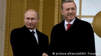 Турецкий президент Реджеп Тайип Эрдоган и Владимир Путин 1 декабря 2014 года