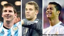 Kombobild Messi Neuer Ronaldo