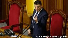 Ukrainian Parliament Speaker Volodymyr Groysman addresses deputies before a parliament session in Kiev December 2, 2014. REUTERS/Valentyn Ogirenko (UKRAINE - Tags: POLITICS)