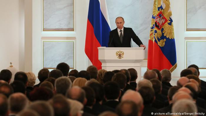 Em discurso anual Putin diz que EUA e UE tentam enfraquecer Rússia