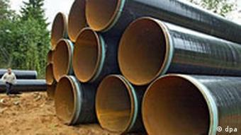 Gas-Pipeline - Rohre für die nordeuropäische Gaspipeline von Gazprom, deutsch-russischer Gaspipeline-Vertrag