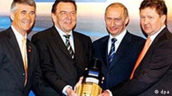 Schröder und Putin mit Gas-Bohrkopf