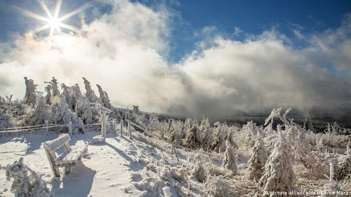 Fichtelberg mountain in the Ore Mountains in winter covered in snow