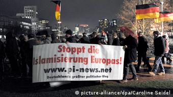 A Pegida demonstration in Düsseldorf on December 8 this year
