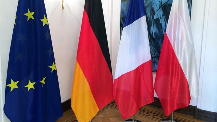 Прапори ЄС та країн Веймарського трикутника