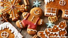 Christmas homemade gingerbread cookies on wooden table 71316266