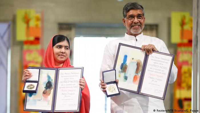 Malala Yousafzai y Kailash Satyarthi.