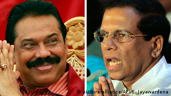 Mahinda Rajapaksa and Maithripala Sirisena (left)