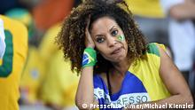 FUSSBALL WM 2014 HALBFINALE Brasilien - Deutschland 08.07.2014 Ein weiblicher Brasilien Fan ist enttaeuscht FOTO: Pressefoto ULMER/Michael Kienzler xxNOxMODELxRELEASExx