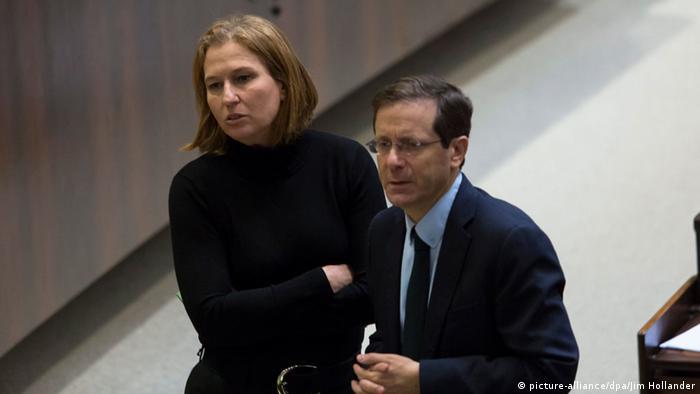 Tsipi Livni und Isaac Herzog geben Mitte-Links-Bündnis in Israel bekannt (foto: dpa)