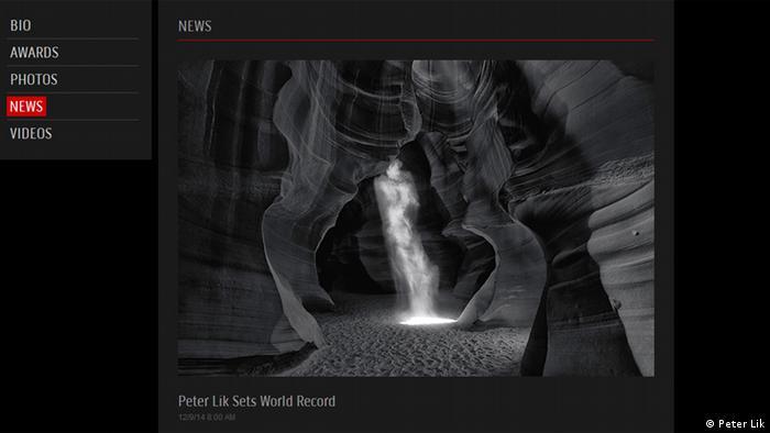 Screenshot Homepage Peter Lik Phantom