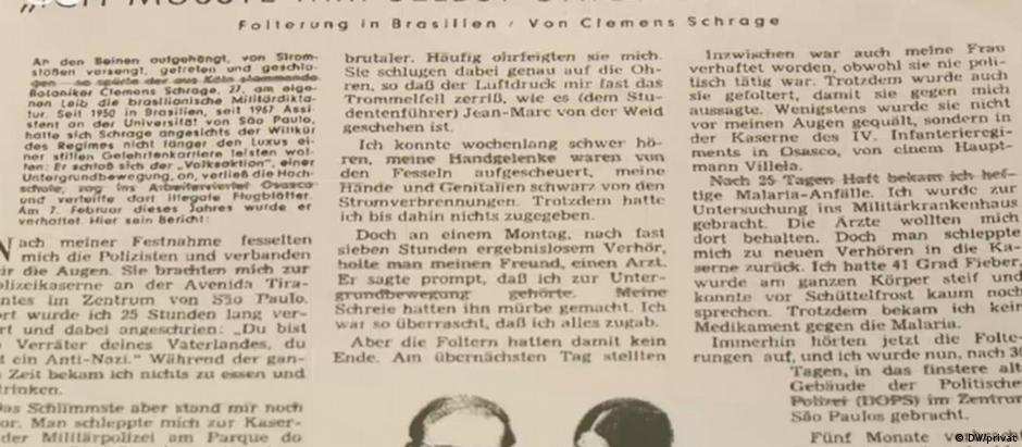 """Depoimento de Clemens Schrage em um jornal alemão: """"Eu tinha que dar choques elétricos em mim mesmo"""""""