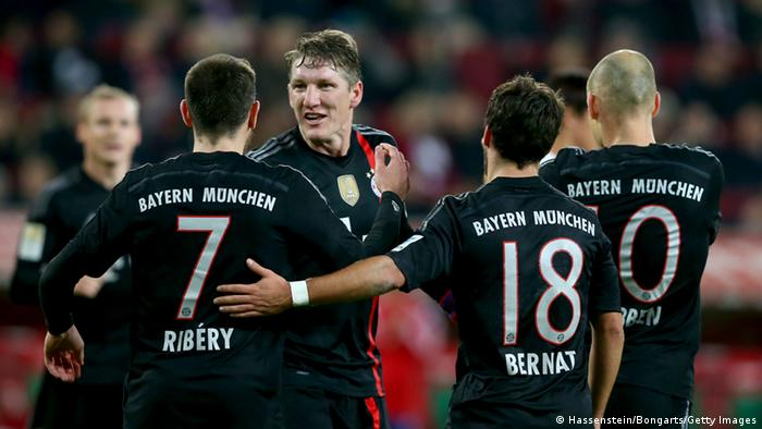 Bayern players celebrate against Augsburg
