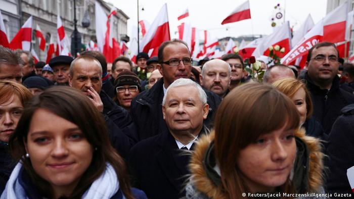 Jaroslaw Kaczynski at a rally in Warsaw