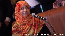 Dec. 14, 2014 - Rome, Italy - Mrs. Tawakkol Karman during the closing day of the World Summit of Nobel Peace In Rome to the palace of Campidoglio