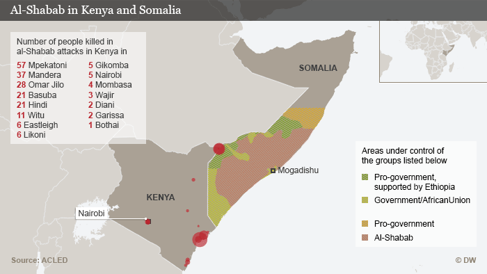 Map documenting al-Shabab attacks in Kenya and Somalia. DW-Grafik: Peter Steinmetz