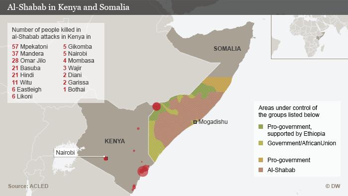 Infografik Karte Al Shabaab in Kenia und Somalia ENG