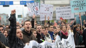 Studenten Demo in Skopje Mazedonien 10.12.2014
