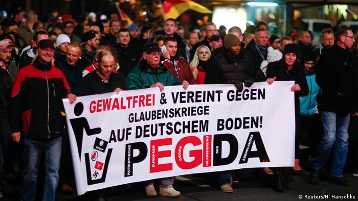 Protesty ruchu Pegida w Dreźnie przeciwko wojnom religijnym na niemieckiej ziemi