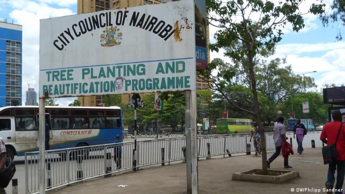 Ein Schild in der kenianischen Hauptstadt Nairobi