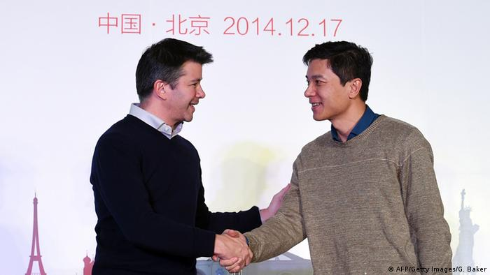 Baidu-Chef Robin Li (re) und Uber-Chef Travis Kalanick in Peking (Foto: afp)