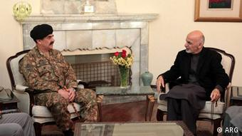Gen Raheel Sharif Pakistan Army chief in a meeting with Afghan president Ashraf Ghani in Kabul, Afghanistan. General Sharif visited Kabul after a deadly attack on pre-Military school in peshawar, pakistan (Photo: ARG)