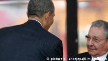 Soweto Handschlag Castro Obama Beerdigung Mandela 10.12.2013