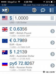 A screenshot of ruble exchange rates on December 16