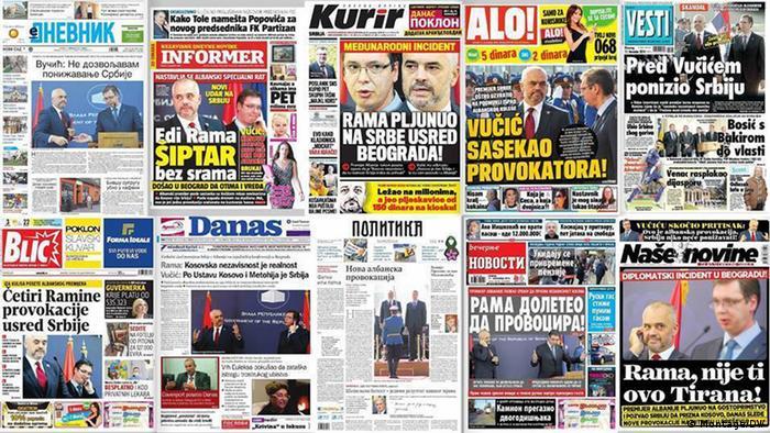 Kollage - Serbische Titelblätter verschiedener Zeitungen