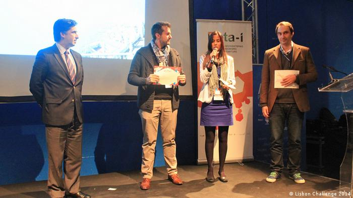 Entrepreneurs onstage at the Lisbon Challenge 2014