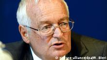file - A file picture dated 27 July 2012 of Hans-Joachim Eckert, Chairman of the two chambers of the FIFA Ethics Committee, during a press conference at the FIFA headquarters in Zurich, Switzerland. EPA/WALTER BIERI/dpa (zu dpa FIFA-Ethikhüter Eckert: Kein Kommentar zu Beckenbauer vom 28.11.2014) +++(c) dpa - Bildfunk+++