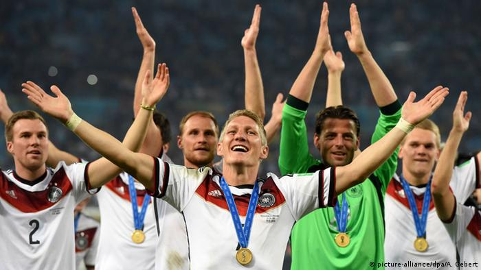 The German national side celebrates winning the 2014 World Cup