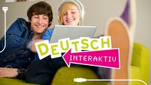 DW Sprachkurse Deutsch Interaktiv Infografik zwei Jugendliche am Laptop