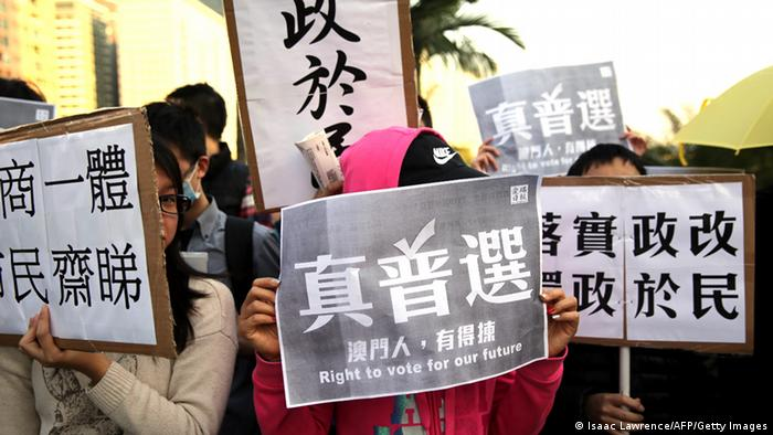 Demonstration für Demokratie in Macau China 20.12.2014