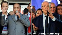 (FILES) --- A combination of recent pictures taken in Tunis made on December 18, 2014, shows the two candidates standing in the upcoming second round of Tunisia's presidential election, outgoing President Moncef Marzouki (L) and leader of the anti-Islamist party Nidaa Tounes, Beji Caid Essebsi. Tunisians vote on December 21, 2014 capping off four years of a sometimes chaotic transition since their country sparked the Arab Spring. AFP PHOTO / FETHI BELAID (Photo credit should read FETHI BELAID/AFP/Getty Images)