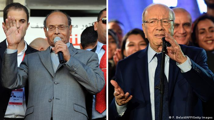 A combination of recent pictures taken in Tunis made on December 18, 2014, shows the two candidates standing in the upcoming second round of Tunisia's presidential election, outgoing President Moncef Marzouki (L) and leader of the anti-Islamist party NidaTunis, Beji Caid Essebsi. FETHI BELAID/AFP/Getty Images