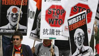 Anti-WTO Protestaktion in Hong Kong China