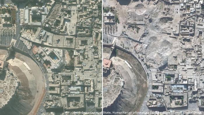 Altstadt von Aleppo (vorher und nachher) BILDKOMBO