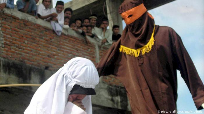 woman in Banda Aceh is caned