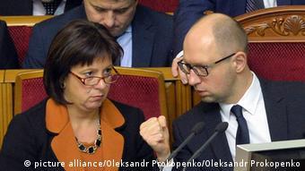 Министр финансов Украины Наталия Яресько и премьер-министр Арсений Яценюк