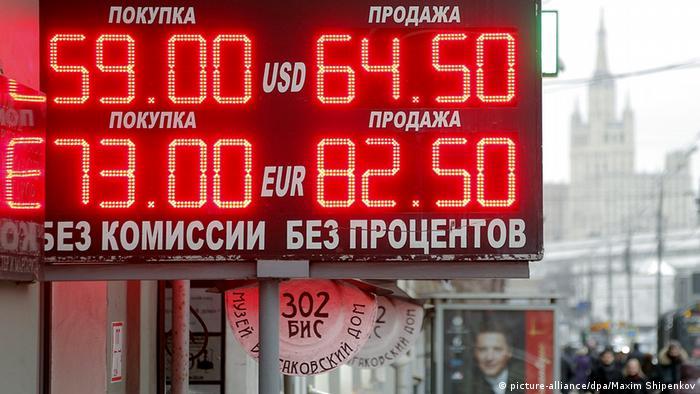 Moskau Russland Symbolbild Rubel Dollar Euro