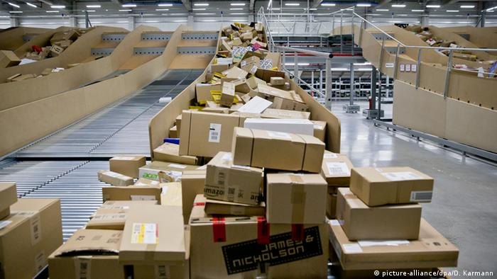 Packages backing up at Deutsche Post in Nuremberg, Germany